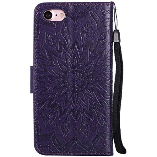 Crisant Case Cover For Apple iPhone 7 4.7'' (4,7''),3D Soleil gaufré conception portefeuille magnétique supporter PU cuir de flip protection housse coque étui pour Apple iPhone 7 4.7'' (4,7'') or rose purple