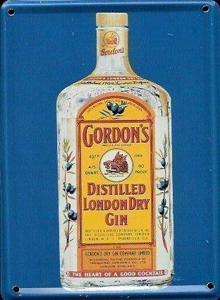 Gordons Gin Metall Postkarte / Mini Schild / Kühlschrankmagnet (hi)