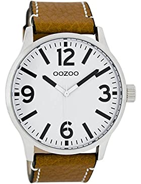 Oozoo Damenuhr mit Lederband 45 MM Weiss/Cognac C7405