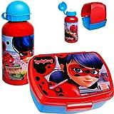 alles-meine.de GmbH 2 TLG. Set _ Lunchbox / Brotdose + Trinkflasche - Miraculous Ladybug - BPA frei - mit extra Einsatz / Fächern - herausnehmbaren Fach / Sportflasche Brotbüchse..