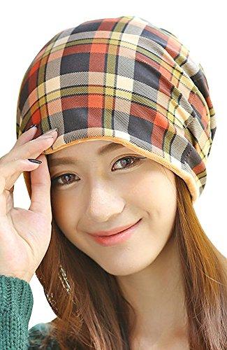 Kangqifen Damen Slouch Beanie Mütze Baumwolle und Samt Plaid Warme Wintermütze Gelb (Mütze Quiksilver-gefütterte)