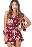 CRAVOG Damen Casual Blumen Playsuit Jumpsuit Overall, Weinrot, Gr. EU 38 / ASIAN L