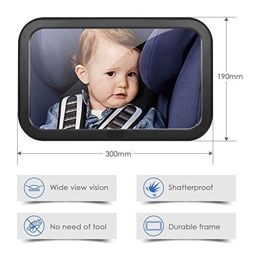 Amzdeal Rücksitzspiegel für Babys, bruchsicherer Spiegel für Auto Baby mit großem Sichtfeld, Babyspiegel Ohne Einzelteile/Schrauben, 360° schwenkbar, Größe 300 x 190 x2,8mm 2
