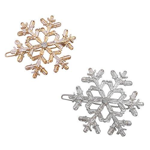 2 romantische Schneeflocke Haar Clip Pin Dekoration Gold Silber Mädchen Damen Frauen Silber Haar-clips