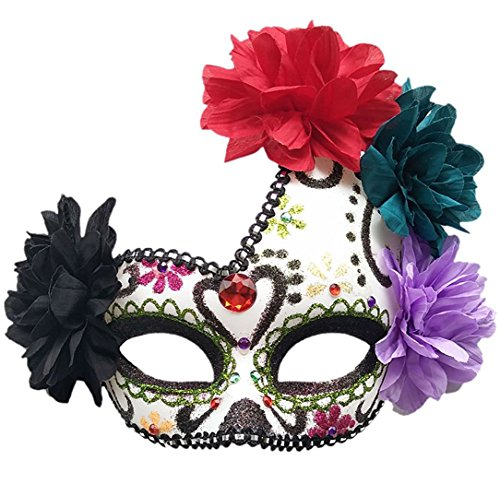 (Frauen Mexikanischen Tag der Toten Maske Zucker Schädel Blume Halloween Glitter Fancy Maske (Grün))