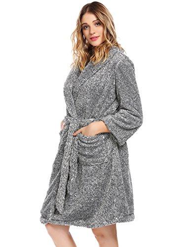 Untlet Damen Frottee Bademantel mit Schalkragen Kimono Morgenmantel Weich Bequem Plüsch Saunamantel Nachtwäsche Super Flauschiger Knielänge Grau