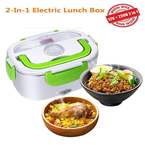 NiLeFo Elektrische Lunchbox 2 in 1 für Auto und Büro - Warmhaltebox für Essen Edelstahl 12V und 220V - Food Box Speisenwärmer 40W (Grün)