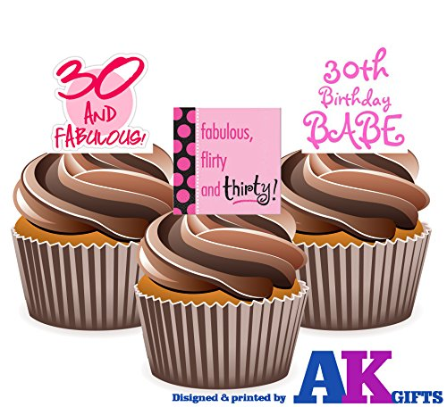 ladies-fun-rosa-30th-cumpleanos-12-cup-cake-toppers-comestibles-stand-up-decoraciones