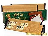 Star 101 Plus Rummy Set Okey - hochwertige Verarbeitung & Materialien (Kunststoff-Spielbänke mit Holz-Furnier - leicht und stabil & Melaminsteine)
