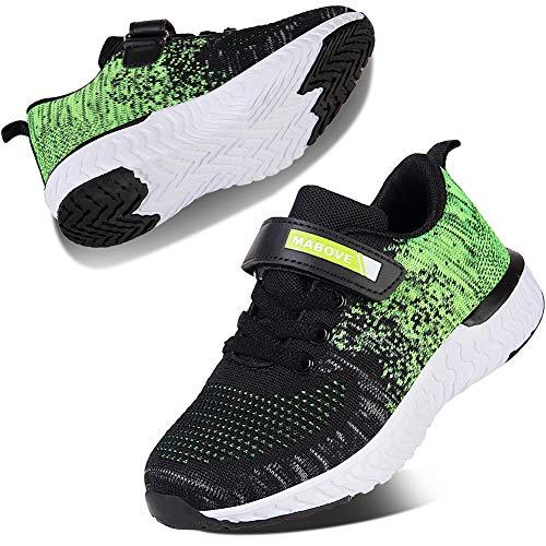 Kyopp Laufschuhe Kinder Turnschuhe für Mädchen Jungen Sportschuhe Kinderschuhe Outdoor Sneakers Klettverschluss Atmungsaktiv Unisex(4#Green 34 EU)