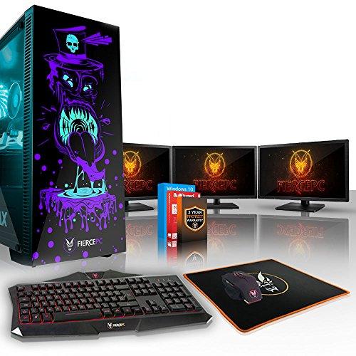 Fierce Gobbler High-End RGB Gaming PC Bundeln: 4.2GHz 4-Core Intel Core i7 7700, 2TB SSHD, 16GB, RTX 2070 8GB, Win 10, Tastatur (QWERTY), Maus, 3X 21.5-Zoll-Monitore 852558