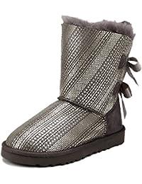Shenduo - Boots fourrées de mouton femme, Bottes de neige à paillette doublure chaude en laine D5078