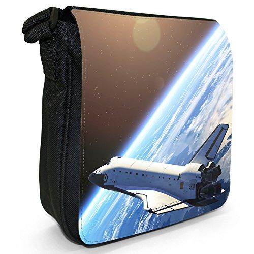 Esplorazione dello Spazio sacchetto di tela borsa a tracolla colore Nero Taglia S Space Shuttle Orbiting Earth