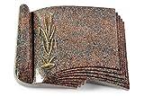 MEMORUM Grabmale Grabbuch, Grabplatte, Grabstein, Grabkissen, Urnengrabstein, Liegegrabstein Modell Prestige 40 x 30 x 8-9 cm Paradiso-Granit, Poliert inkl. Gravur (Bronze-Ornament Ähren 2)
