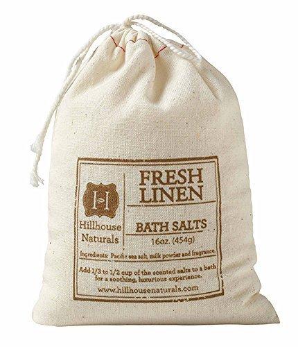 Hillhouse Naturals Fresh Linen Bath Salt in Drawstring Canvas Bag 16 oz by Hillhouse Naturals (Naturals Hillhouse)