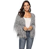 SUCES Damen Mode Quasten Pailletten Cardigan Damen Winter Neuer Luxus Party Mantel Kurze Lange Ärmel Strickjacke Frauen Freizeit Jacke