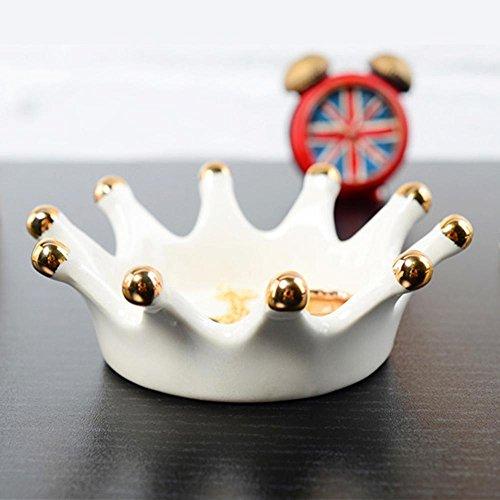 AOLVO Trinket Dish, kleine Schmuck Keramik Teller Royal Crown Ring Halter Schmuck Halter Ring für Kette Armband Ohrringe Organizer Display Water (Royal Crown Schmuck-display)