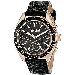 So y Co para hombre de Nueva York Monticello reloj infantil de cuarzo con esfera analógica y negro correa de piel 5027,3