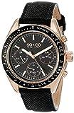 So & Co New York Monticello 5027.3 Herren-Armbanduhr/Chronograph, Quarzuhrwerk, mit analoger Anzeige, schwarzem Lederarmband und schwarzem Zifferblatt