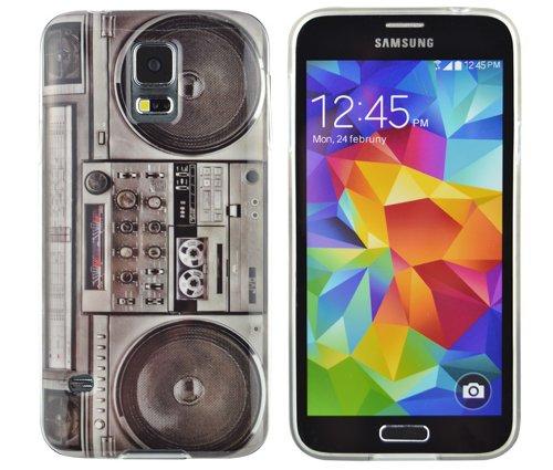 gada - Handyhülle für Samsung Galaxy S5 mini - Hochwertiges TPU Case Cover Schutzhülle im stylischen Design - Ghettoblaster