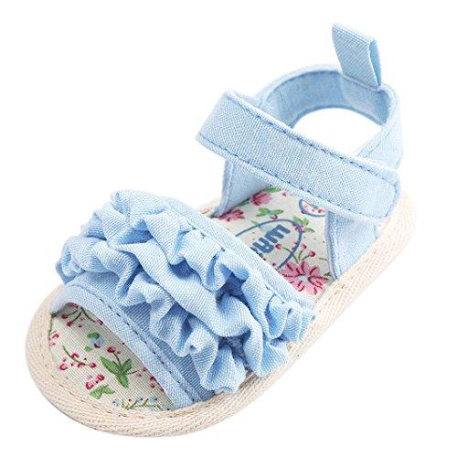 FNKDOR Baby Mädchen Blumen Sandalen Neugeborene Krabbelschuhe Erste Schuhe (12-18 Monate, Weiß)