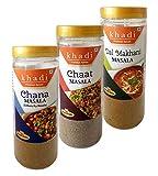Khadi Masala, 100g Each (Combo of 3) - Chana Masala, Chaat Masala, Dal Makhani Masala