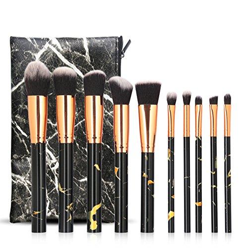 Cdet. 10Pcs Kit De Pinceau Maquillage en Visage avec Manche en Plastique Cosmétiques Brush Ensemble Et Sac à cosmétiques Fondation Mélange Blush Yeux Poudre Brosse Make Up Texture de marbre Noir