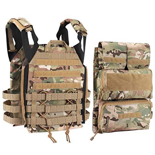 DETECH Tactical JPC MOLLE - Chaleco con Mochila para Airsoft, Paintball, Caza, 02CP