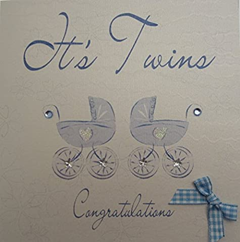 white cotton cards Its Twins Congratulations Handmade New Baby Card Blue Prams