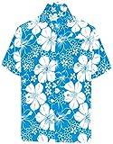 LA LEELA   Funky Camicia Hawaiana da Uomo   Maniche Corte   Tasca Frontale   Stampa Hawaiana   Spiaggia Floreale Fiore Ibisco Stampato Blu Ottanio_W302 XL - Torace (in CMS) : 121-132