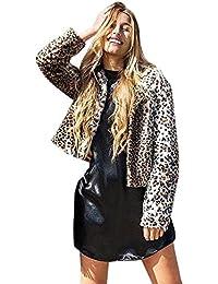 Giacca di Pelliccia Donna Invernali Elegante Moda Cappotto Leopard Sintetica  Stampate Pelliccia Corto Cerimonia Manica Lunga 96431aa871b