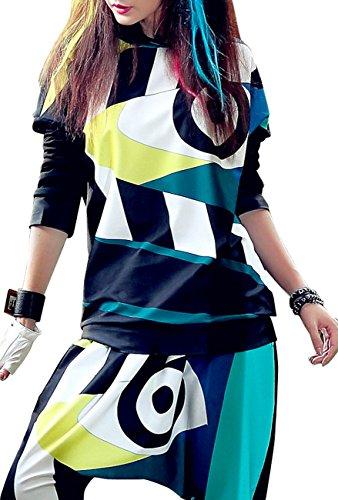 ELLAZHU Femme Sweats à Capuche Manches Longues Hippie Taille Unique GK213 Multicolore