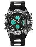 Pour homme Big Face numérique analogique montres de sport pour hommes imperméable électronique LED militaire montre numérique avec chronomètre pour homme armée chronographe Noir Cadran rotatif montre bracelet