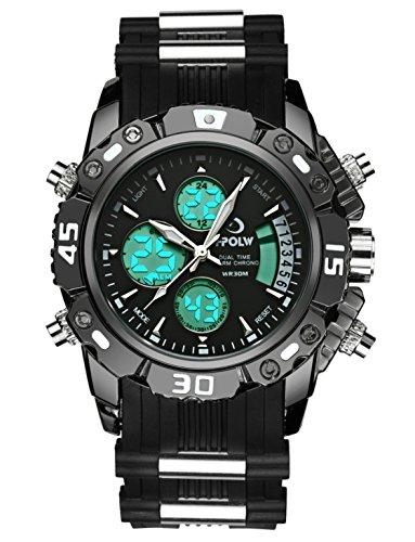 Para hombre Big Face Digital analógico deportes relojes hombres impermeable electrónico LED Militar reloj Digital con cronómetro hombres del ejército cronógrafo negro giratorio dial reloj de pulsera
