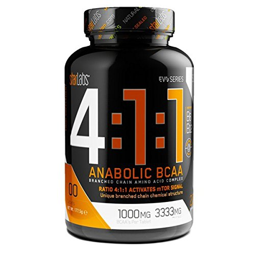 Starlabs Nutrition 4:1:1 Anabolic BCAA Suplemento Nutricional - 1 Paquetes de 400 Tabletas