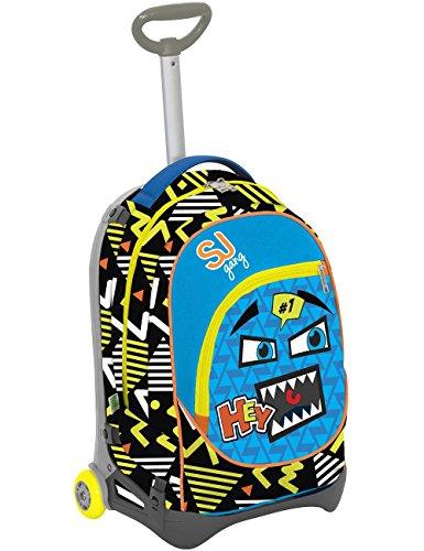 Seven s.p.a. trolley jack junior - sj faccine - blu giallo nero - 28 lt sganciabile e lavabile - scuola e viaggio