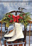 Christmas Winter Skates Sled Welcome Double Sided Garden Flag 13 x 18 by Carson Flag Trends