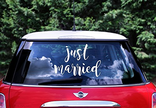 Wedding Hochzeit Autoaufkleber Day Car Sticker - Just Married, 33x45cm