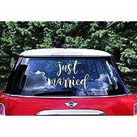 Adesivo Auto Sposi JUST MARRIED Matrimonio Bianco - Wedding   Party 33 x 45  cm cb57c0f69b4