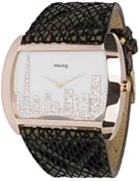 Moog Paris - Skyline, Reloj para Mujer con Esfera Blanca, Correa Negra Y Oro Rosa de Piel Genuina y Cristales Swarovski - Hecho en Francia
