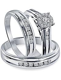 Silvernshine Jewels 1.30 Ct Diamond 18k Solid White Gold Fn .925 Engagement Ring Wedding Trio Set