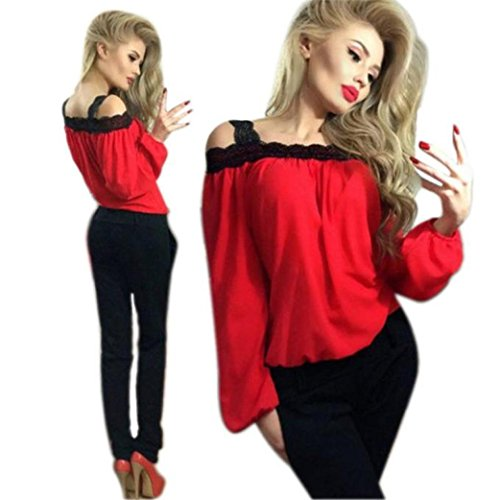 Abbigliamento Donna, ASHOP T Shirt Maniche Lunghe Donne Fuori Dalla Camicia a Maniche Lunghe in Pizzo Camicia a Maniche Lunghe in Chiffon Camicetta Sciolto Top Rosso