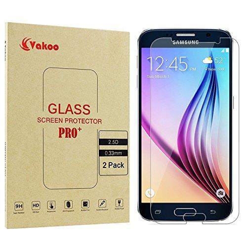 Galleria fotografica Galaxy S6 Pellicola Protettiva - Vakoo Samsung Galaxy S6 Proteggi Schermo Premium in Vetro Temperato Protettore per Samsung Galaxy S6/S6 Duos (Confezione da 2)