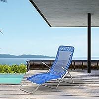 [casa.pro]® Tumbona Plegable - Silla para Playa - 190 x 60 x 98 cm - Respaldo Ajustable - Azul