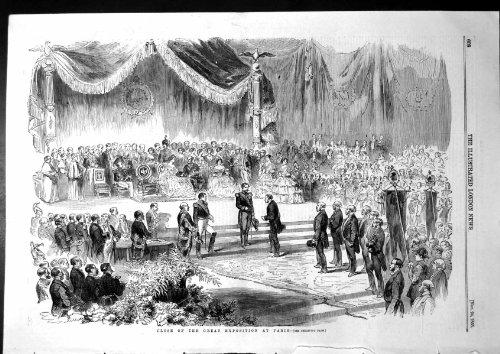 Antiker Druck von nahen großen Ausstellungs-Paris-Damen-Ballkleid-Mann-Klagen 1855