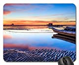 pontoon boats on the beach at sunset Mouse Pad, Mousepad (Beaches Mouse Pad)