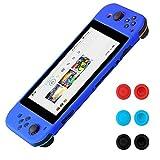 Morbuy Funda de Silicona para Nintendo Switch Funda Carcasa protectiva antiresbalante Caso Case Funda de Caja de TPU Suave Estilo de para Nintendo Switch & Thumb Grips Caps (Azul)