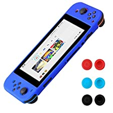 Funda de silicona para Nintendo Switch - Morbuy Funda carcasa protectiva antiresbalante caso case Funda de caja de TPU suave estilo de para Nintendo Switch & Thumb Grips Caps (Azul)