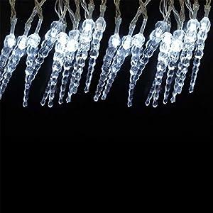 Gifts 4 All Occasions Limited SHATCHI-479 - Gotas de hielo (3,3 m, funciona con pilas), color blanco