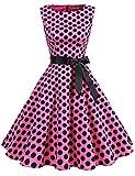 Gardenwed Damen 1950er Vintage Cocktailkleid Rockabilly Retro Schwingen Kleid Faltenrock Pink Black Dot M